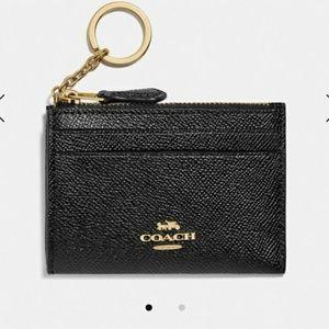 COACH NWT MiniSkinny Black Leather ID Case
